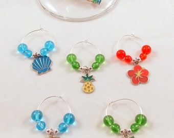 Wine Glass Charms Hawaiian Beach Aloha Theme Hand Crafted Set Of 6