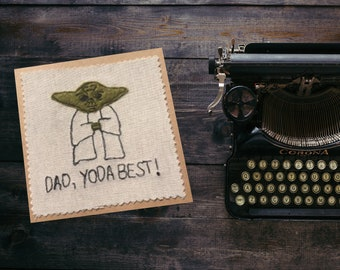 Yoda textile art Father's Day or Dad's birthday card