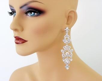 Chandelier long Bridal Earrings, Long Crystal statement earrings, Wedding earrings, Brides statement earrings, Crystal rhinestone earrings