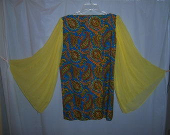 Rare Vintage Blue Paisley Yellow Bell Sleeve Dress 1960s Psychedelic Original