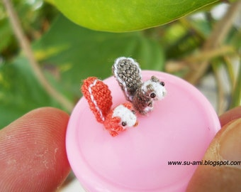 Micro Amigurumi Squirrels - Little Crochet Miniature Stuffed Animal Toy - Set of Two Squirrels - Made To Order