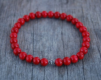 Red Coral Bracelet,Gemstone 6mm beads Bracelet,Man,Woman,health,Relieve,Protection,Yoga,Stretch,Men,Women,Protection,Meditation