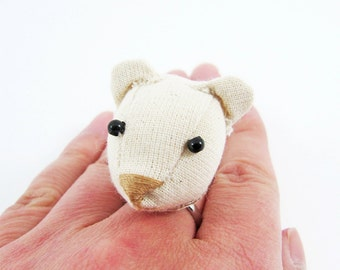 MADE-TO-ORDER ( 1 - 2 Weeks)- Bear Adjustable Ring-Unbleached colour