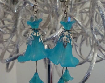 Bell arum, turquoise, turquoise earrings, lucite, wedding