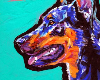 Beauceron dog art print of pop art dog painting bright colors 8.5x11 LEA