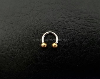 """16g Tiny 1/4"""" (6mm) Septum Ring Horseshoe Ring with Gold balls 316lvm Stainless Steel Smiley Piercing Lip Piercing Nipple Piercing"""