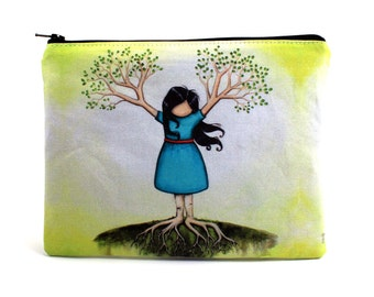 Flourish - Zipper Pouch - Girl Tree with Branches as Hands - Art by Marcia Furman