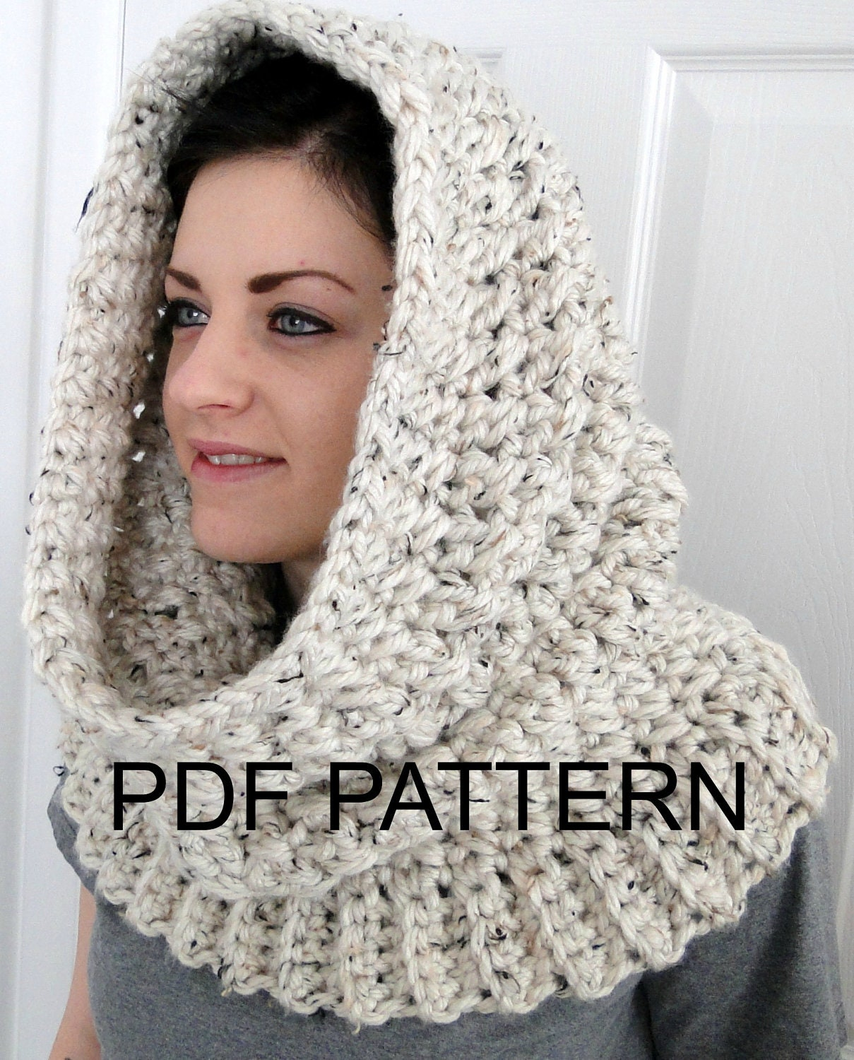 PDF PATTERN ONLY Hooded Neck Warmer Cowl Scarf for Women