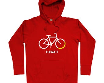 Bike Hawaii Hoodie - Men S M L XL 2x 3x - Gift for Men, Her, Hawaii Cycling Hoody, Bicycle Hoody, Cyclist Hoody, Honolulu Hoody, Hawaiian