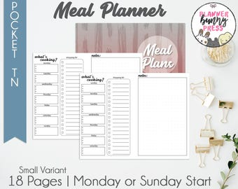 PRINTABLE Meal Planner Insert POCKET TN - Sunday or Monday Start | Small Variant