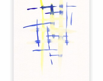 Blue and yellow abstract strokes painting. Original watercolor art. Modern minimalist wall art.