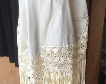 "Gorgeous Vintage Hand Knotted Macrame Ribbon Fringed Piano Shawl Wrap in a Buttery Golden Cream 102"" x 38"""