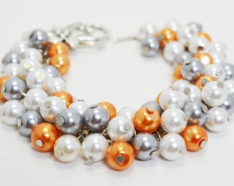 Gray, orange and white pearl cluster bracelet, bridal jewelry, bridesmaids gift, wedding bracelet, chunky bracelet, grey cluster bracelet