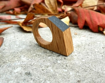 Geometric Wood Ring, Geometric Ring, Wooden Ring, Minimalistic Ring, Wood Ring, Size 5 Ring, Natural Wood Ring, Eco Friendly Ring