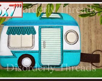 Retro Camper met rits zak! 5 x 7 ** xxx VIP-pes jef hus exp dst formaten ** ITH In de hoepel met rits zak Machine borduurwerk bestand