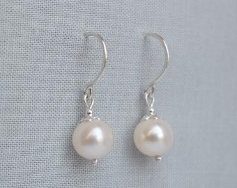 Simple Pearl Earrings - Pearl Drop Earrings, Classic Pearl Earrings, Pearl Earring, Pearl Jewellery Silver, Pearl Jewelry, Freshwater Pearl