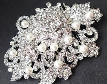 HALF PRICE Sale- Bridal Hair Accessories, Great Gatsby, Pearl Crystal Wedding Bridal Hair Comb, Art Deco Bridal Hair Accessories, GENEVA