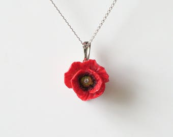 Porcelain Red Poppy pendant with sterling silver necklace/ Poppy Necklace/ Poppy Pendant/ Poppy/ Flower Necklace/ Flower Pendant/ Red Poppy