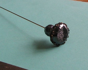 Limited Edition Black Druzy Agate 6 inch Handmade Hatpin / Hat Pin