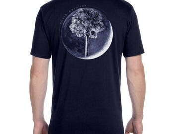 Palm In Moon T-Shirt  - Men's and Ladies Sizes Available - Charleston - South Carolina - SC Flag - Palm and Moon - SC Father's Day Gift