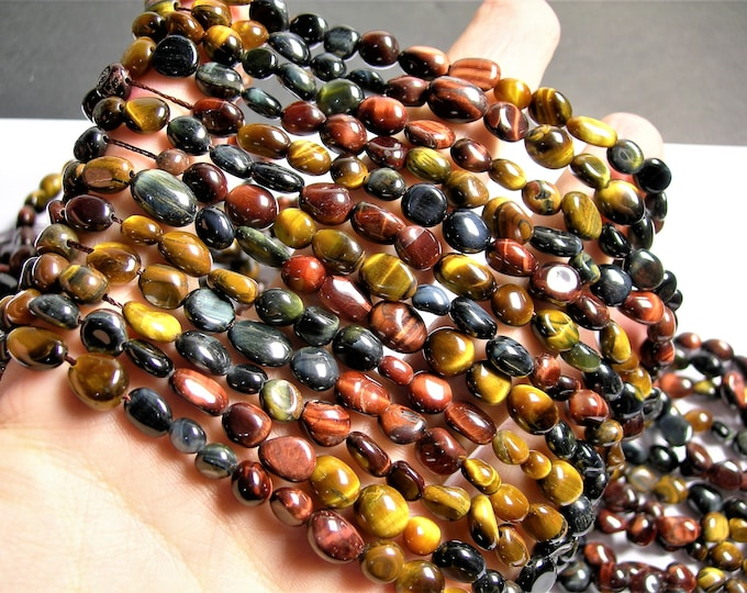 Tiger eyes multi color  - pebble - nugget - 1 full strand - mix color tiger eyes - Blue - yellow - red -  PSC383