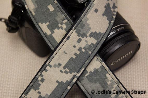 Digi Cam Camera Strap 2 in or 1.5 in Wide Custom Padded Military Army Digi Cam Camouflage DSLR SLR