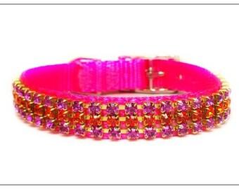 Pink Crush Crystal Rhinestone Dog or Cat Collar