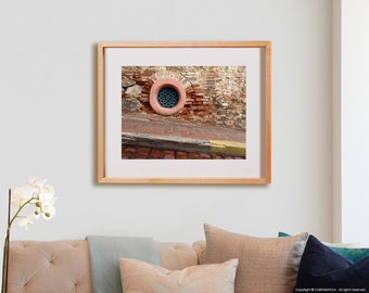 Round Window Print.  Urban photography, brick, decor, wall art, artwork, large format photo.
