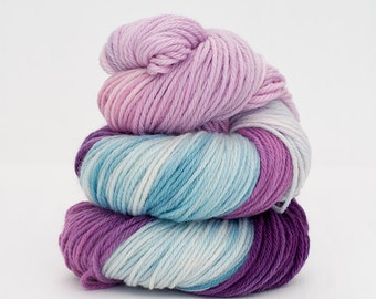 Wannabe Mermaid - Hand Dyed Sport Weight Superwash Merino Wool Sock Yarn in Purple-ish Pink / Green-ish Blue