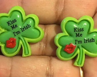"Four Leaf Clover ""Kiss me I'm Irish"" Earrings  AM42"