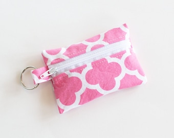 Small Zipper Pouch, Ear Bud Holder, Credit Card Case, Pink Quatrefoil