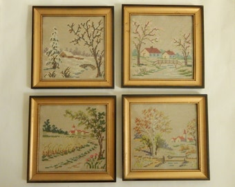 Wool Needlepoint Seasonal Stitchery - Signed and Dated c.1957 on Back - Wool Needlepoint Winter, Spring, Summer, Fall Framings - Set of Four