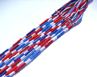 10 Red, White and Blue Friendship Bracelets