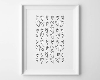 HEARTS - Instant Download - 8x10 - 11x14 - Love Art - Hearts - Black and White - Hand Drawn - Sketch - Minimal - Home Decor
