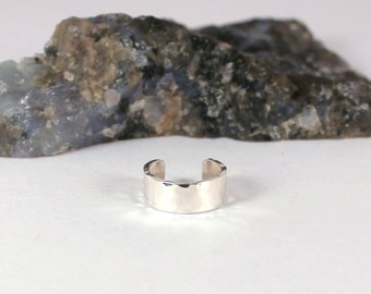 4mm Hammered Silver Ear Cuff, Sterling Silver, Made to Order