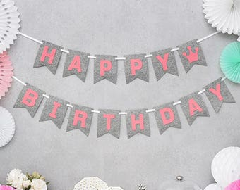 Happy Birthday Bunting Pink and Gray Flags Lettering Banner Garland Party Decoration