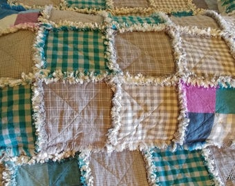 Homespun Pillow Sham, 1 King Size Pillow Sham, Rag Quilt Pillow Sham, Farmhouse Pillow Sham
