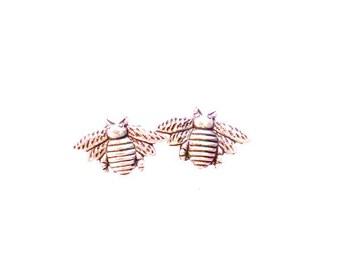 Bee Stud Earrings antique silver Honeybee post earrings