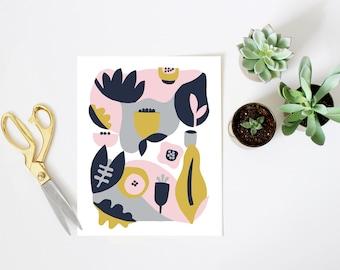 Scandinavian print, minimalist art, scandinavian art, mid century modern art, nursery print, flower print, pink, yellow, blush, navy
