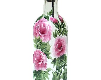 Hand Painted Glass Bottle Olive Oil Dispenser Pink Roses Green Leaves Vines Hand Painted Glassware Hand Painted Oil Vinegar Soap Dispensers