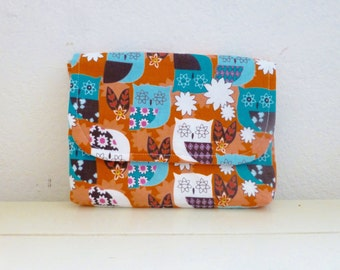 Fabric Wallet, women's wallet, women's gift idea, snap closure, ready to ship, orange and blue wallet, floral print, cute accessory