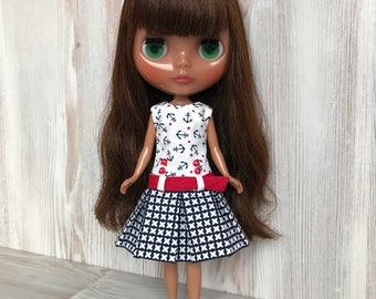 Blythe nautical dress, Pullip doll clothes, fashion outfit, 30 cm dolls clothes, 12 inch doll dress, doll dress, blythe clothing