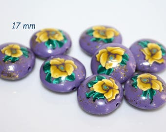 Pansies beads Polymer Clay