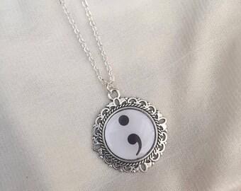 Mental Health Symbol Semi Colon Necklace