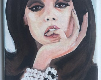 1960's mod glamour girl. An original portrait painting of a beautiful 1960's girl.