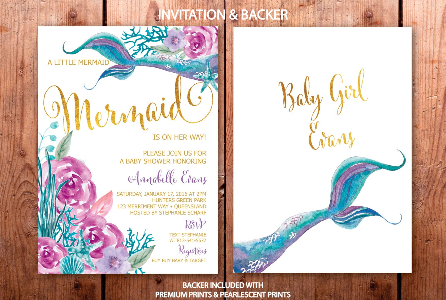 Mermaid Baby Shower Invitation, Purple And Teal Mermaid Baby Shower  Invitation, Under The Sea Invitation, Girl, Gold   QUEENSLAND COLLECTION