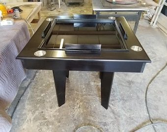 Solid Wood Black Stained Domino Table With Drink Holder