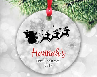 Babys First Christmas Ornament Personalised Christmas Ornament Baby Girl Baby Boy Ornament Custom Baby Gift Baby Owl Keepsake 1st Christmas