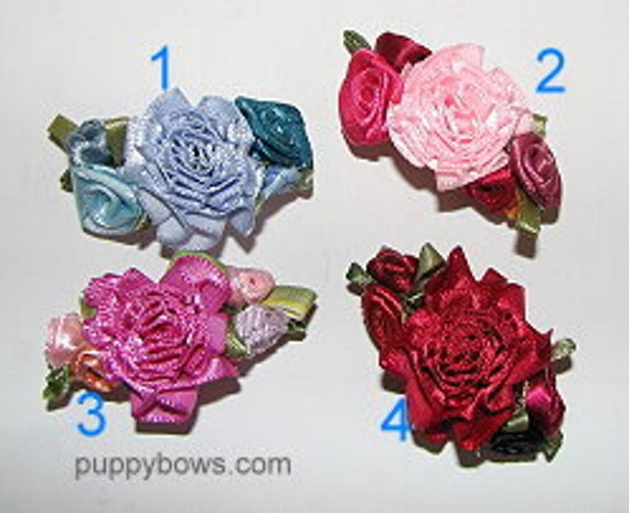 Puppy Bows ~Hand sewn rose flowers multi colors  satin barrette carnation centers ~USA seller