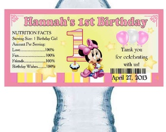 20 MINNIE MOUSE 1st BIRTHDAY party water bottle labels ~ glossy ~ waterproof ink